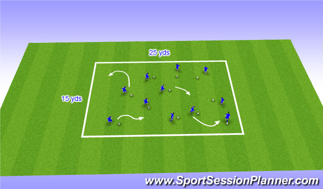 Football/Soccer Session Plan Drill (Colour): Warm up - Dribble Tag