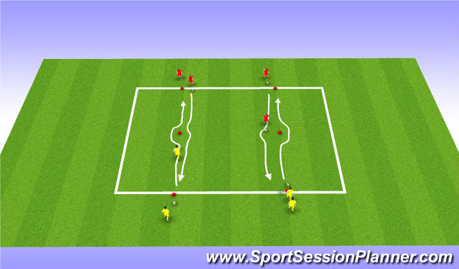 Football/Soccer Session Plan Drill (Colour): Warm Up - technical moves
