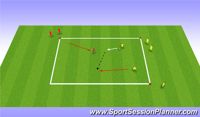Football/Soccer Session Plan Drill (Colour): Small Sided activity - 2v1 to end lines