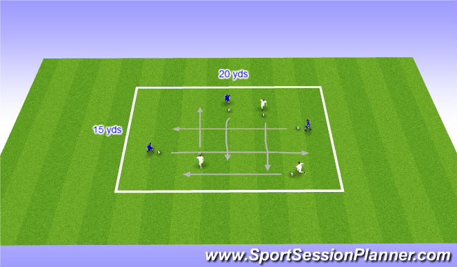 Football/Soccer Session Plan Drill (Colour): Activity 2 - cross over dribbling