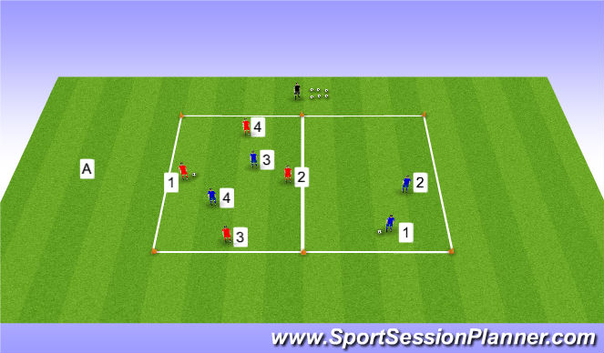 Football/Soccer Session Plan Drill (Colour): Positioning Game 4 V 2 with 8 players