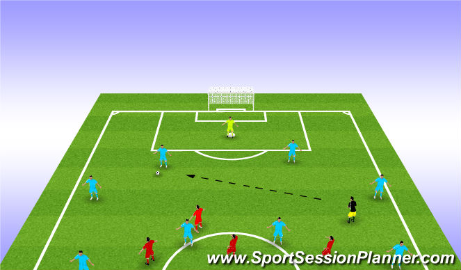 Football/Soccer Session Plan Drill (Colour): HALF PRESS