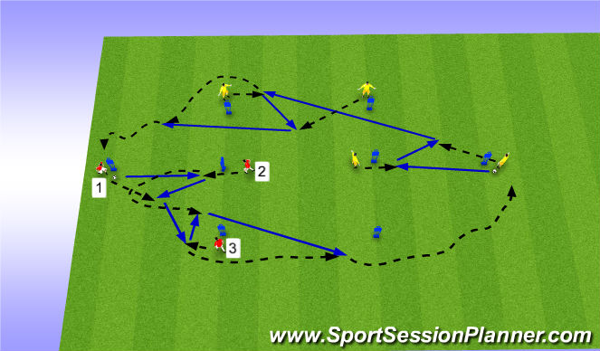 Football/Soccer Session Plan Drill (Colour): T Passes Patterns 2