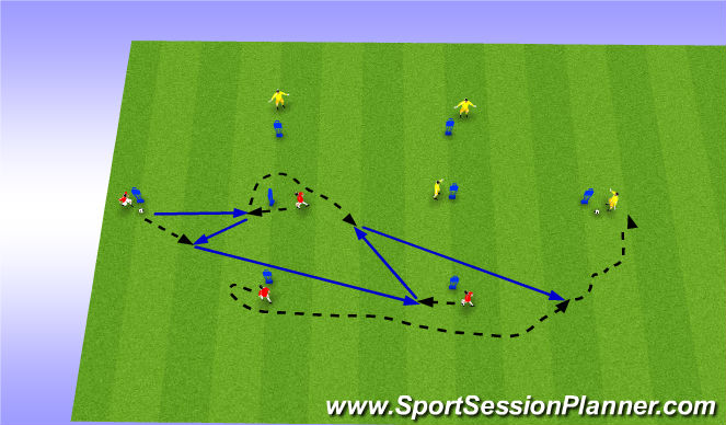 Football/Soccer Session Plan Drill (Colour): T Passing Patterns 3