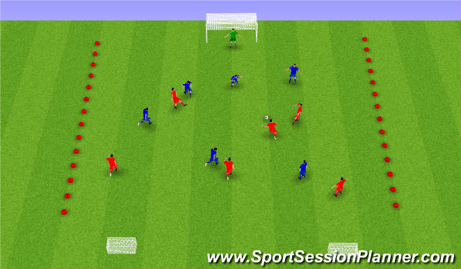 Football/Soccer Session Plan Drill (Colour): Spil á þröngum velli.