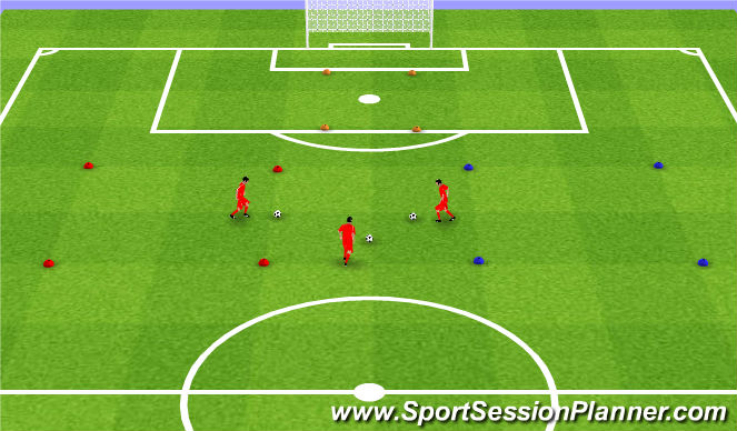 Football/Soccer Session Plan Drill (Colour): Squares. Kwadraty.