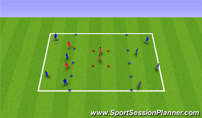 Football/Soccer Session Plan Drill (Colour): 4v2 long  and short passing