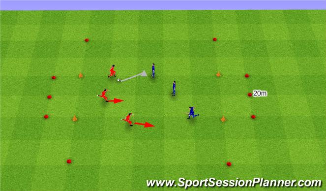 Football/Soccer Session Plan Drill (Colour): 3v3 z przeprowadzeniem piłki.