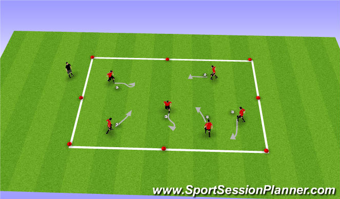 Football/Soccer Session Plan Drill (Colour): Dribble Tag