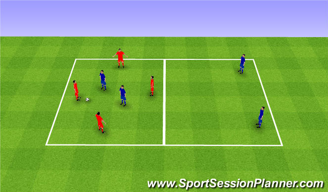 Football/Soccer Session Plan Drill (Colour): Rondo 4v2+2. Dziadek 4v2+2.