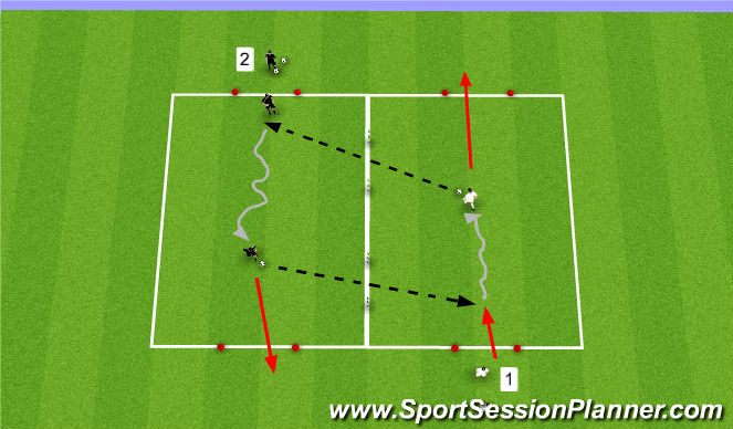 Football/Soccer Session Plan Drill (Colour): Passing Off A Dribble