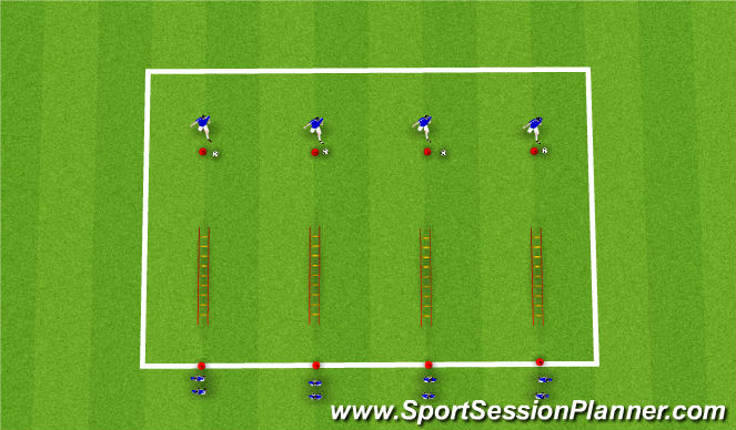 Football/Soccer Session Plan Drill (Colour): SAQ Ladder / Passing Warm up.