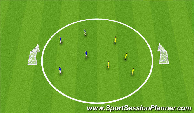 Football/Soccer Session Plan Drill (Colour): Oval - SSG 4v4
