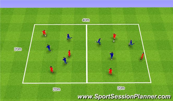 Football/Soccer Session Plan Drill (Colour): 2v2+1 and 4v4+2 or 5v5.