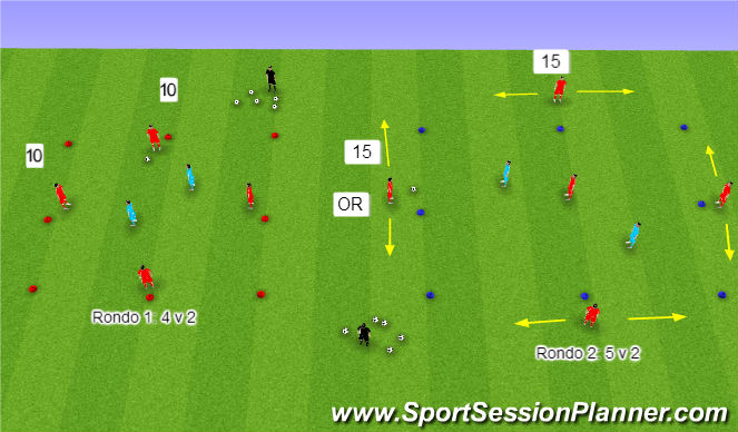 Football/Soccer Session Plan Drill (Colour): Rondos-small group possession
