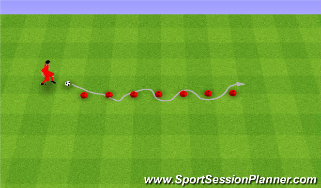 Football/Soccer Session Plan Drill (Colour): Slalom.