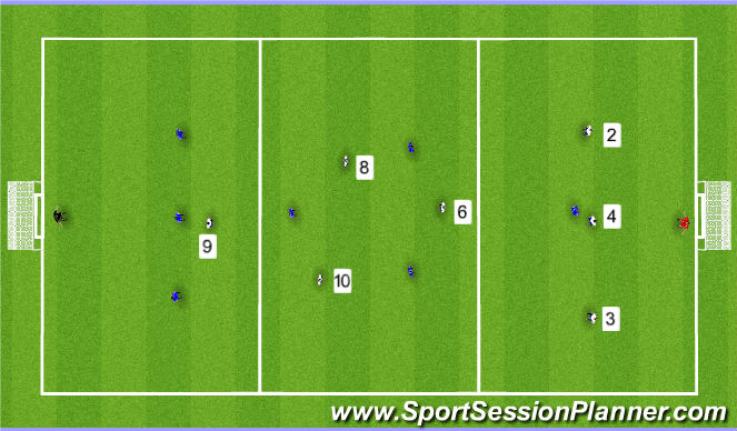 Football/Soccer Session Plan Drill (Colour): 8v8 Zone Game