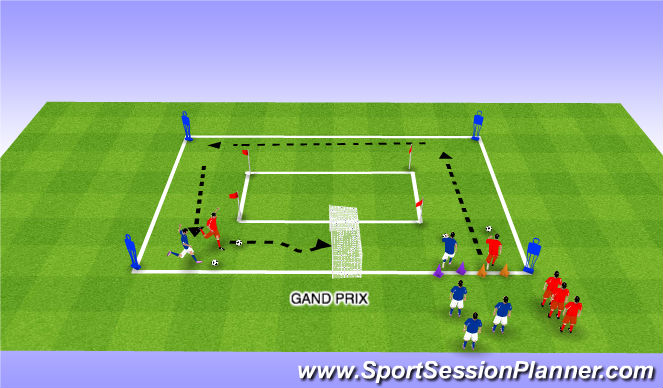 Football/Soccer Session Plan Drill (Colour): Grand Prix Dribblng