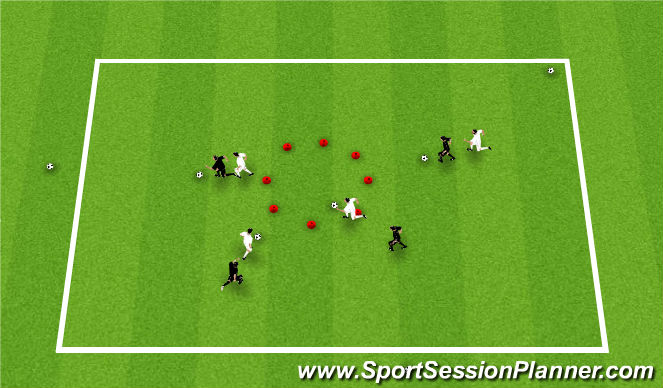 Football/Soccer Session Plan Drill (Colour): Turning/Shielding Game Warm Up