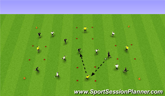 Football/Soccer Session Plan Drill (Colour): 6 v 6 + 4