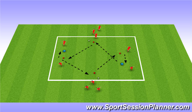 Football/Soccer Session Plan Drill (Colour): Long / Short / Long