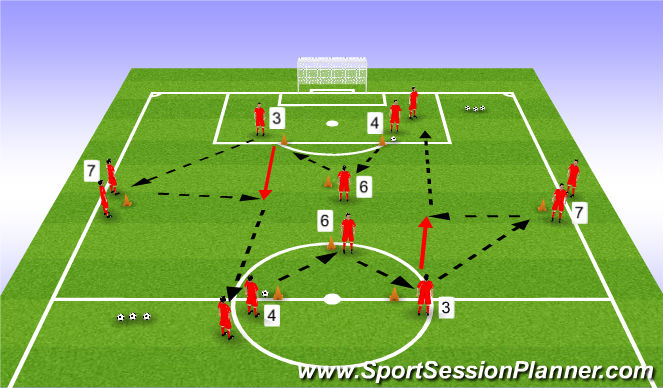 Football/Soccer Session Plan Drill (Colour): Passing Practice - Variation 1