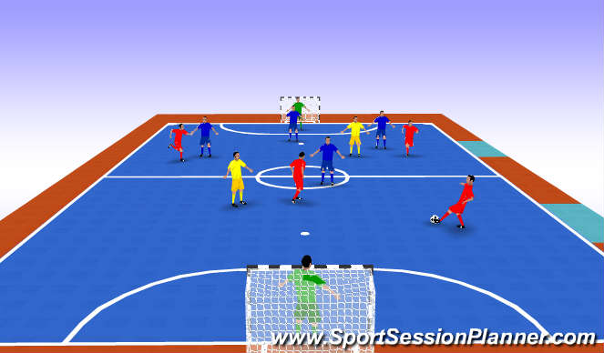 Futsal Session Plan Drill (Colour): SSG 5v5 + 2 Floaters