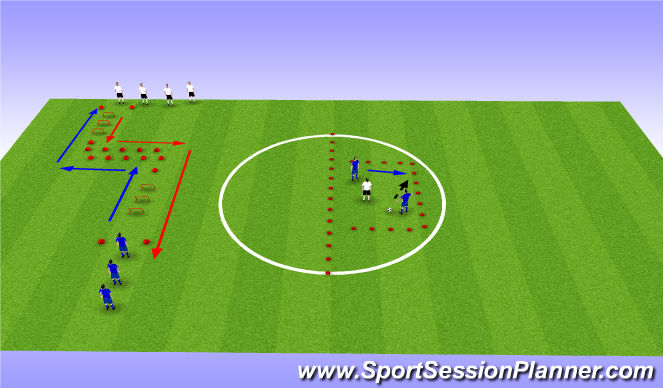 Football/Soccer Session Plan Drill (Colour): Warm Up / Technical / SAQ