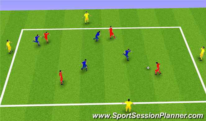 Football/Soccer Session Plan Drill (Colour): 4 á 4 + 4.