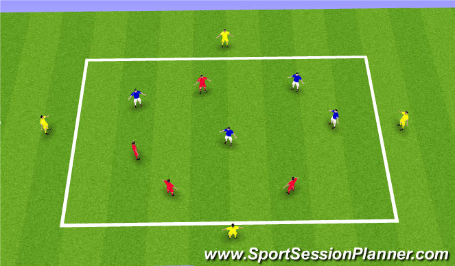 Football/Soccer Session Plan Drill (Colour): 4v4 Keep ball