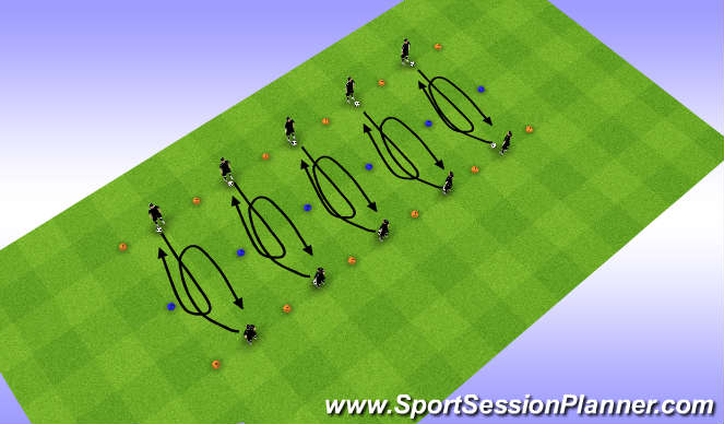 Football/Soccer Session Plan Drill (Colour): W-up, U moves