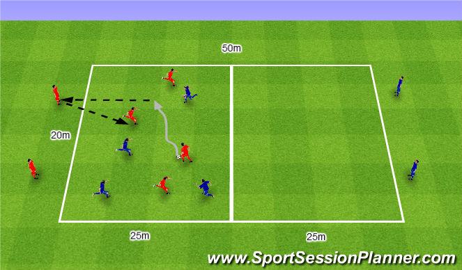 Football/Soccer Session Plan Drill (Colour): Gra 83. 6v4 w dwóch polach.