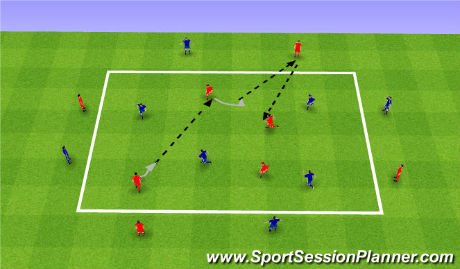 Football/Soccer Session Plan Drill (Colour): Gra 86. 4v4 z bokami.