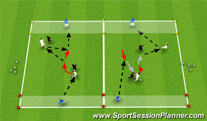 Football/Soccer Session Plan Drill (Colour): 2v2+2 Targets
