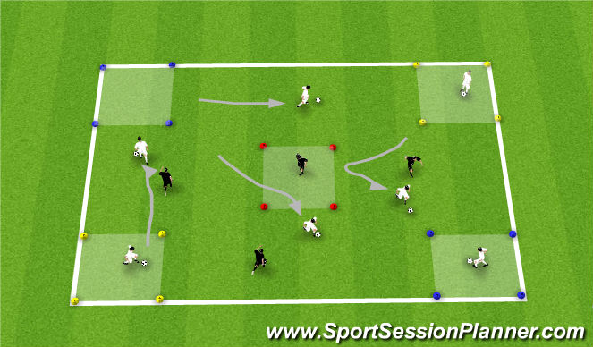 Football/Soccer Session Plan Drill (Colour): Dribbling Boxes Game
