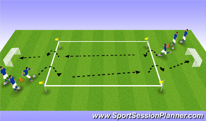 Football/Soccer Session Plan Drill (Colour): Agilty into Shooting