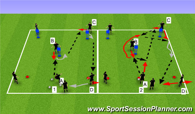 Football/Soccer Session Plan Drill (Colour): M Passing