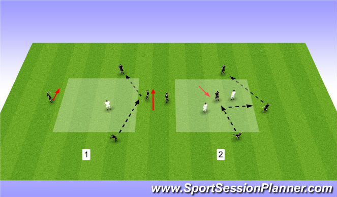 Football/Soccer Session Plan Drill (Colour): 4v1/5v2