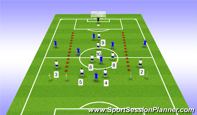 Football/Soccer Session Plan Drill (Colour): 8v8 ESSG
