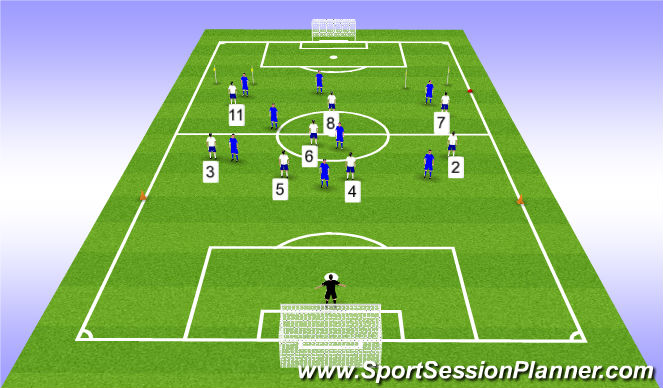 Football/Soccer Session Plan Drill (Colour): 8v8 ESSG