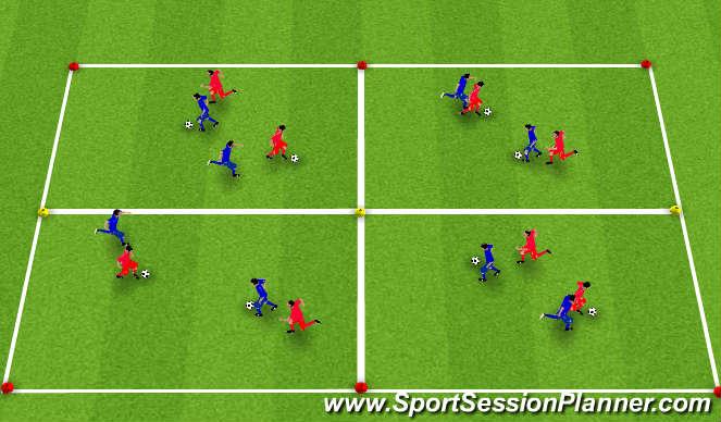 Football/Soccer Session Plan Drill (Colour): Knattrak og gabbhreyfingar.