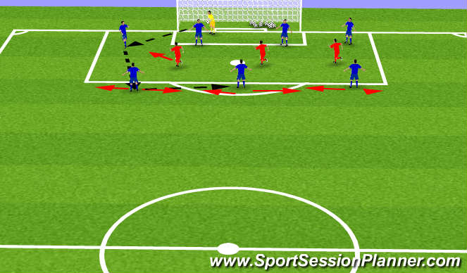 Football/Soccer Session Plan Drill (Colour): Warm Up (Dynamic+ Tech/Tact) 20 mins
