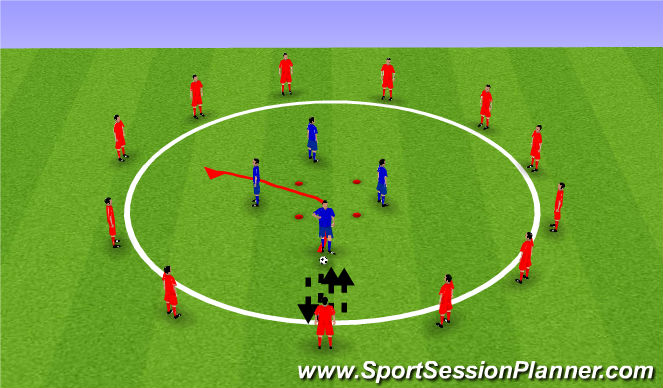 Football/Soccer Session Plan Drill (Colour): One Touch Warm Up Circle