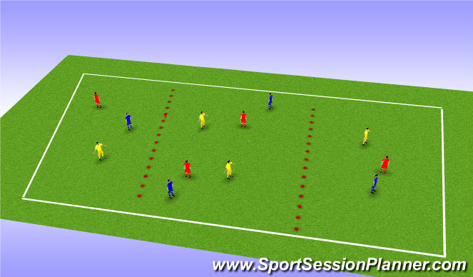 Football/Soccer Session Plan Drill (Colour): Multi-ball & unopposed directional play