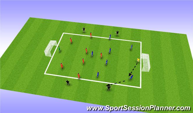Football/Soccer Session Plan Drill (Colour): 8v8+4 Bumper Game