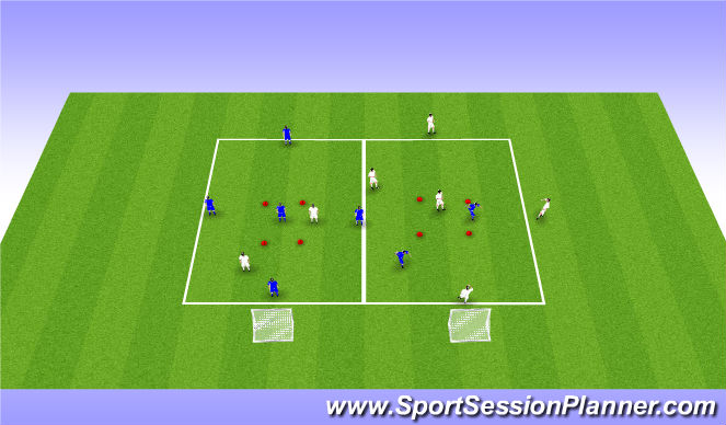 Football/Soccer Session Plan Drill (Colour): 5v2 Rondos with central zone