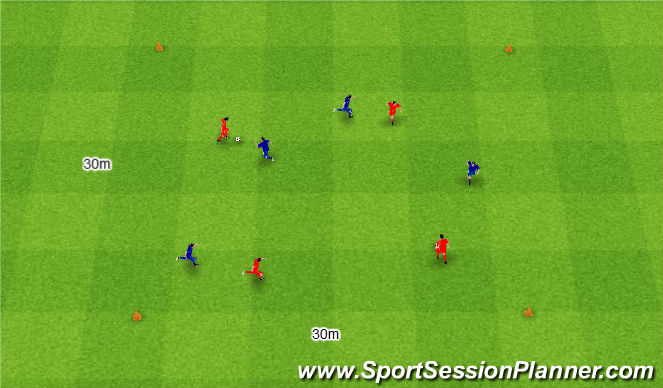 Football/Soccer Session Plan Drill (Colour): Gra 8. 1v1 + 3v3.