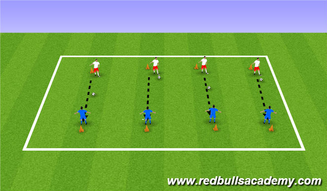 Football/Soccer Session Plan Drill (Colour): Cone Kockdown