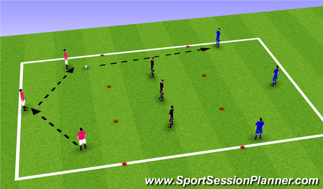 Football/Soccer Session Plan Drill (Colour): Identifying when to switch the play