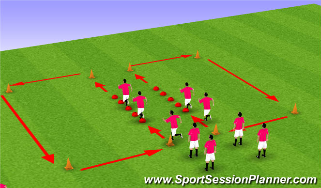 Football/Soccer Session Plan Drill (Colour): Cone circuit, dynamic stretching